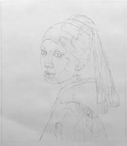 drawing by Mairi Budreau of the Girl with the Pearl Earring